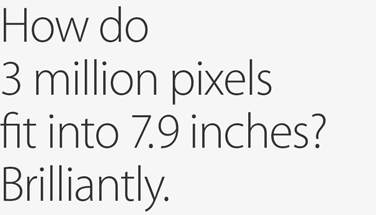 How do 3 million pixels fit into 7.9 inches? Brilliantly.