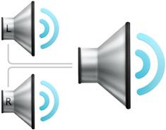 Ícones demonstrando que os canais de áudio direito e esquerdo estão combinados para reproduzir nos dois alto-falantes.