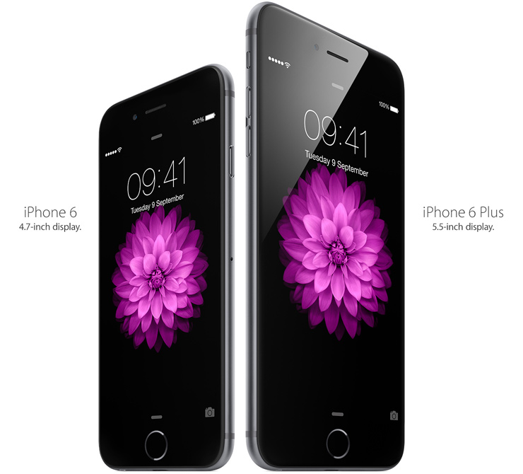 iPhone 6 - 4.7-inch display. iPhone 6 Plus - 5.5-inch display.