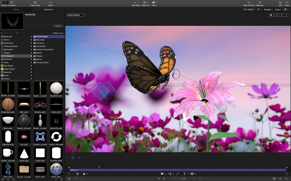 The Motion 3D Content Library in Final Cut Pro.