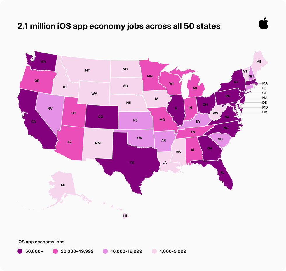 US map indicating distribution of iOS app economy jobs across 50 states.