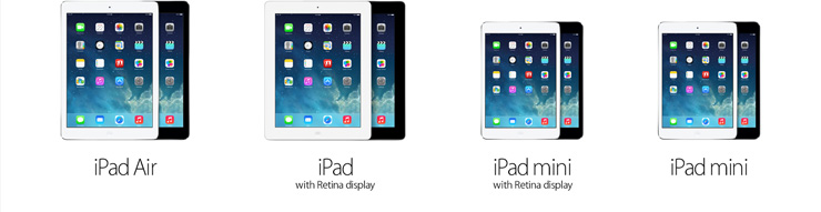 iPad Air. iPad with Retina Display. iPad mini with Retina display. iPad mini.