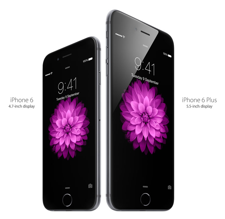 iPhone 6: 4.7-inch display. iPhone 6 Plus: 5.5-inch display.