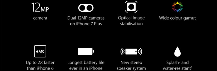 12MP camera, Dual 12MP cameras on iPhone 7 Plus, Optical image stabilization, Wide color gamut, Up to 2x faster than iPhone 6, Longest battery life ever in an iPhone, New stereo speaker system, Splash and water resistant (2)