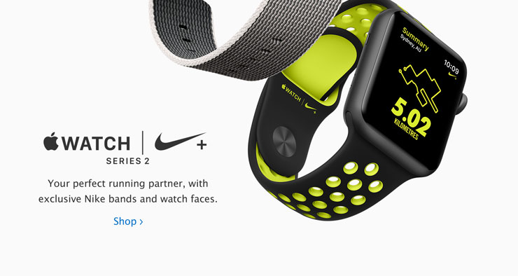 Apple Watch Nike+ Series 2. Your perfect running partner, with exclusive Nike bands and watch faces.