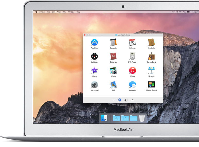 MacBook Air showing Finder displaying Simple Finder with easily recognized icons for applications like GarageBand and iPhoto.
