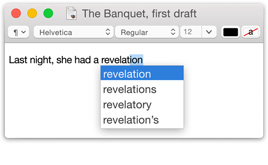 Screenshot of the word 'revelation' being completed with a choice of similar words.