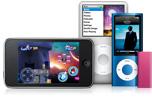 iPod touch, iPod classic, iPod nano, iPod shuffle.