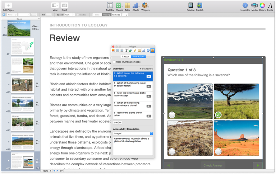 iBooks Author Accessiblity options are included in the inspector window.