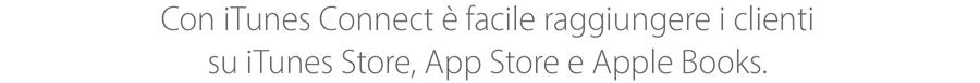 Con iTunes Connect è facile raggiungere i clienti su iTunesStore, AppStore e iBooksStore.