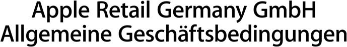 Apple Retail Germany GmbH Allgemeine Geschäftsbedingungen