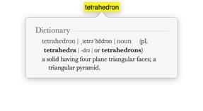 Captura de pantalla de la palabra Tetrahedron con entrada de diccionario.