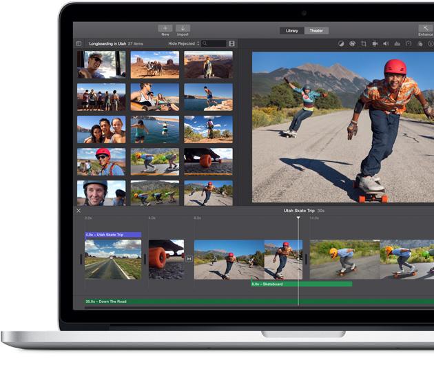MacBook Pro mostrando la pantalla de eventos en iPhoto.