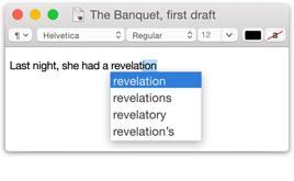 Captura de pantalla de la palabra revelation mientras es completada con una selección de palabras similares.