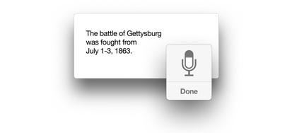 Ícono de micrófono con el texto 'The battle of Gettysburg was fought from July 1-3, 1863' .