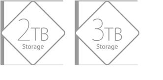 2TB Storage, 3TB Storage.