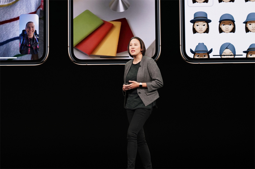 Kaiann Drance on stage at Apple's September event.