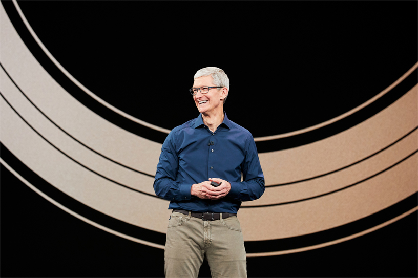 Tim Cook on stage at Apple's September event at Apple Park's Steve Jobs Theater.