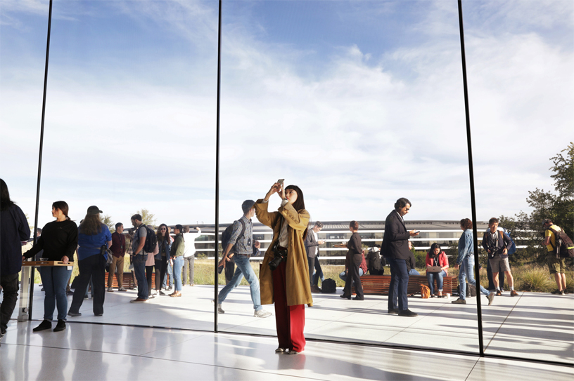 Guests at Apple Park's Steve Jobs Theater.