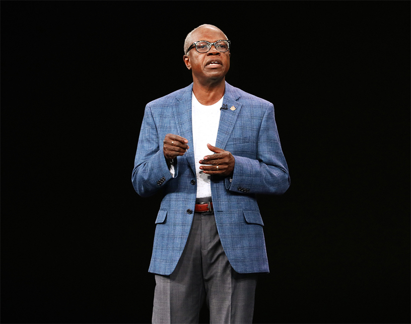 Dr. Ivor J. Benjamin on stage discussing the health benefits of the new Apple Watch Series 4.