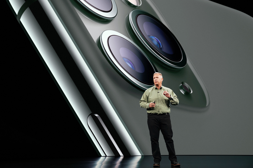 Phil Schiller on stage at Steve Jobs Theater.