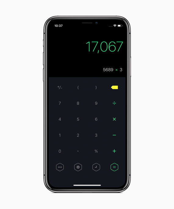 iPhone X showing the Calzy 3 calculator home screen