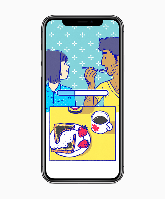 iPhone X showing an animated couple eating breakfast together in Florence