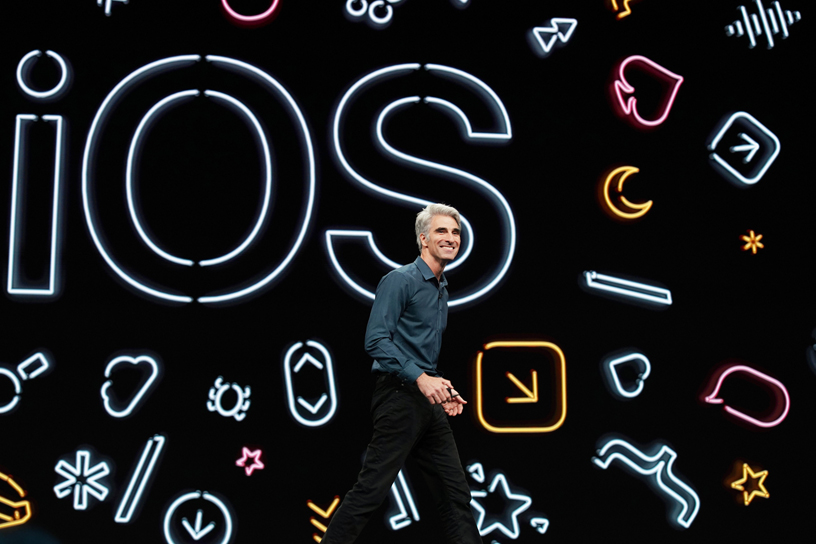 Craig Federighi introduces iOS 13 on stage at WWDC 2018.