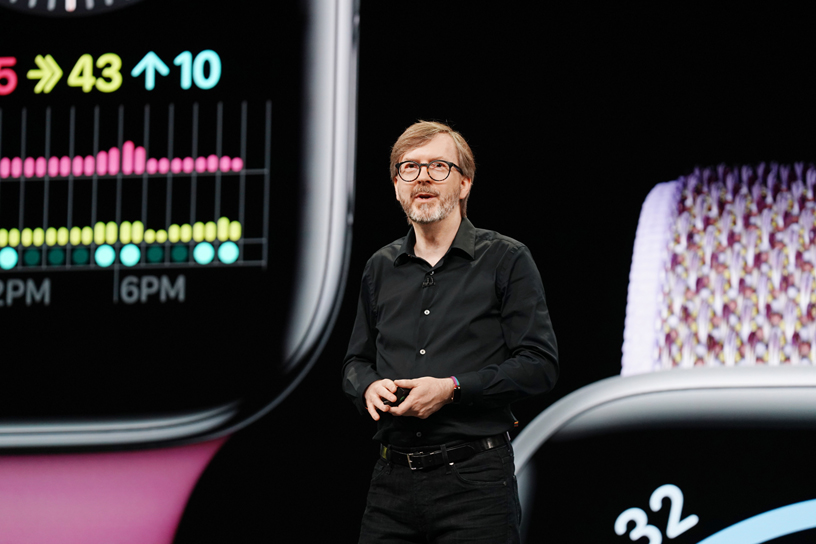 Kevin Lynch introduces watchOS 6 on stage at WWDC 2019.