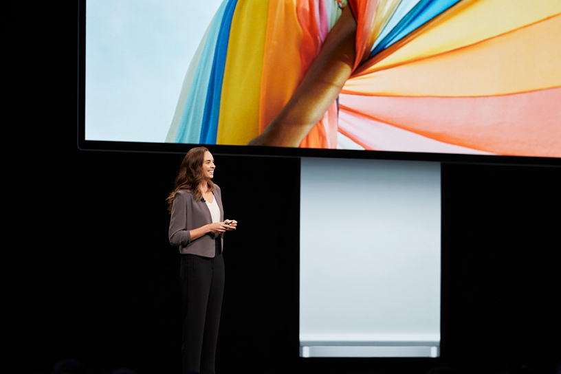 Colleen Novielli on stage at WWDC 2019.
