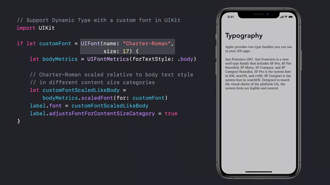 Lines of code are displayed next to an image of an iPhone 11 Pro whose screen shows a typography lesson.