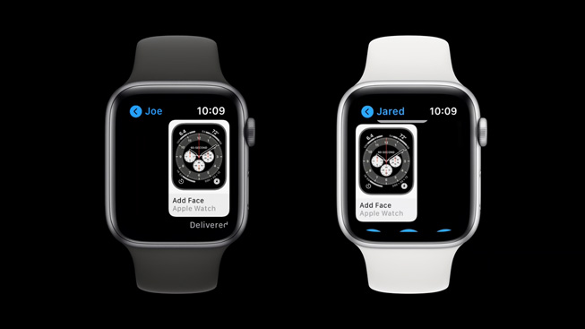 One Apple Watch Series 5 shares a watch face with another Apple Watch Series 5.