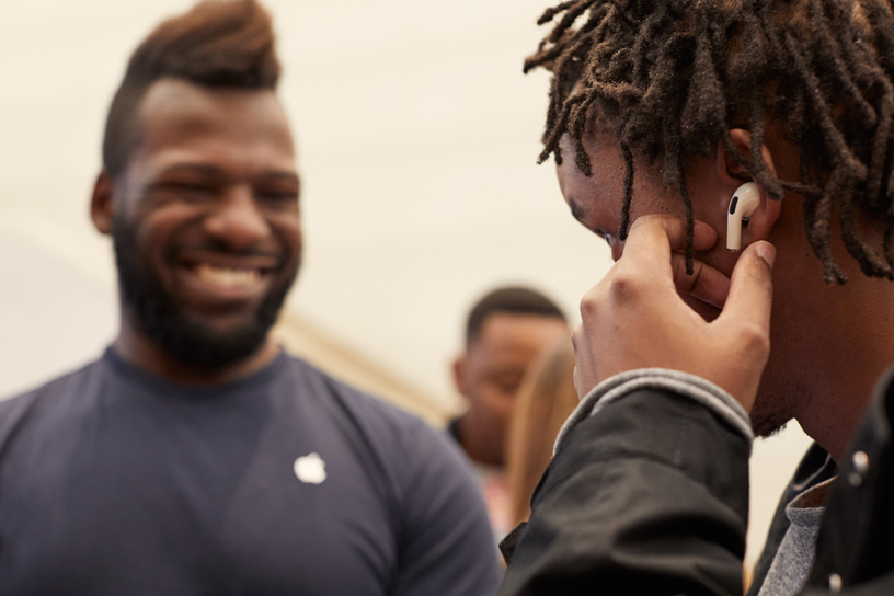 A customer tries on AirPods Pro at Apple Regent Street in London.