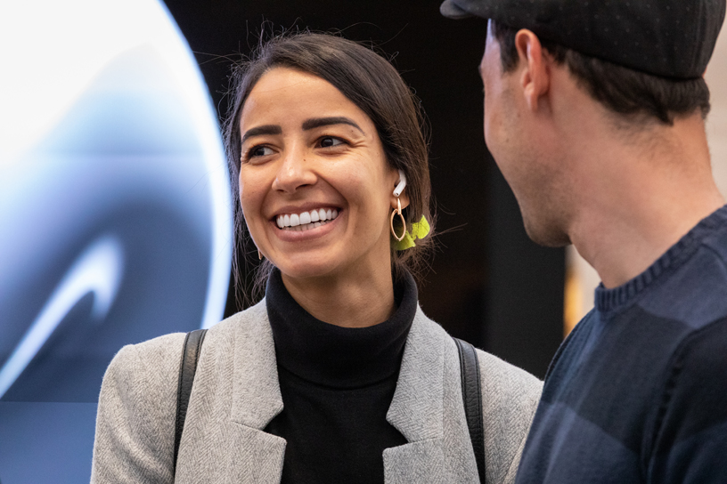 A customer wears AirPods Pro at Apple Fifth Avenue in New York.