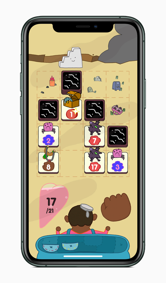 "Gameplay from ""Card of Darkness"" displayed on iPhone 11 Pro."