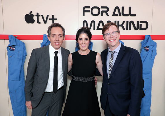 "Ben Nedivi, Maril Davis and Matt Wolpert at the premiere of ""For All Mankind."""