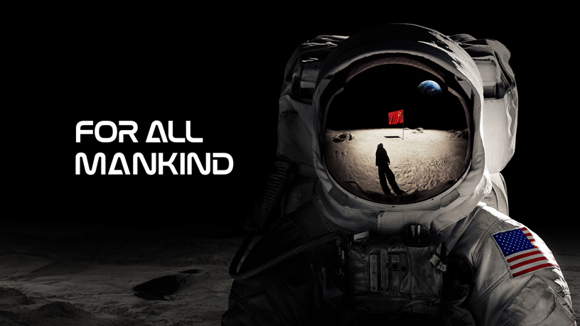 "Title screen for Apple TV+'s ""For All Mankind."""