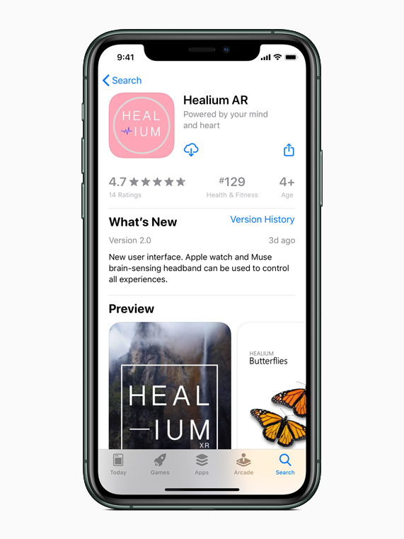 The Healium AR app on the App Store on iPhone 11 Pro.