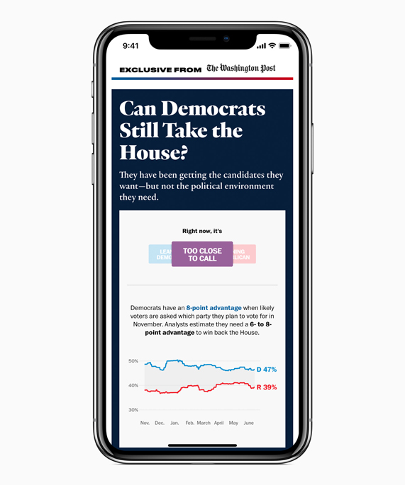 iPhone X showing a Washington Post article on Apple News.