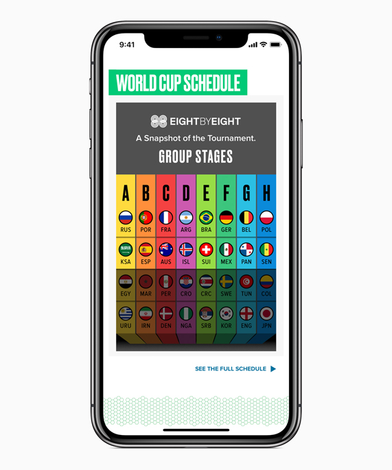 iPhone X featuring the Apple News App World Cup knockout bracket interface