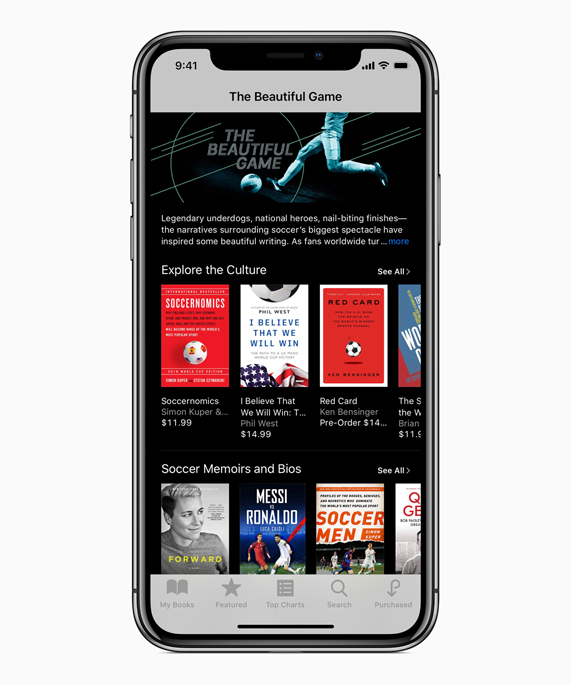 """The Beautiful Game"" in iBooks screen shows downloadable books about soccer"