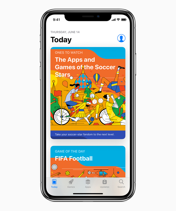 Illustrated World Cup content menu featured on an iPhone X App Store
