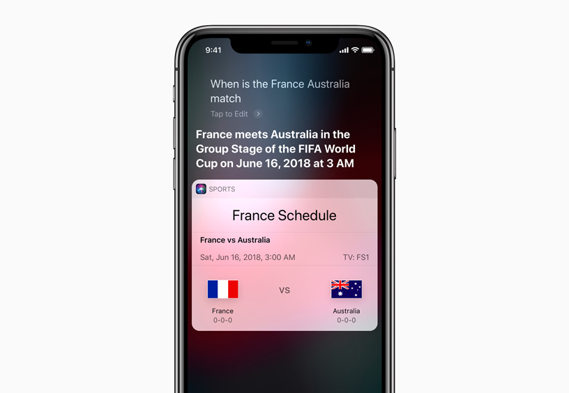 Siri responding a request for the France World Cup schedule on an iPhone X