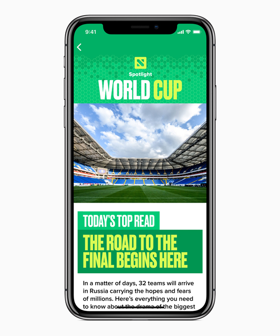 iPhone X featuring the Apple News App World Cup Spotlight page