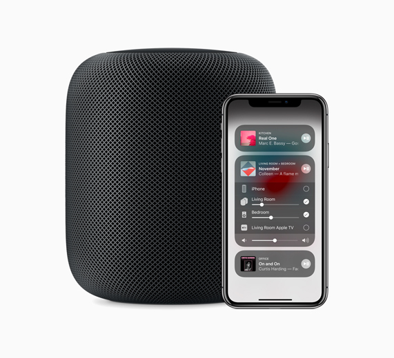 A side-by-side photo of the HomePod and iPhone displaying Control Center.