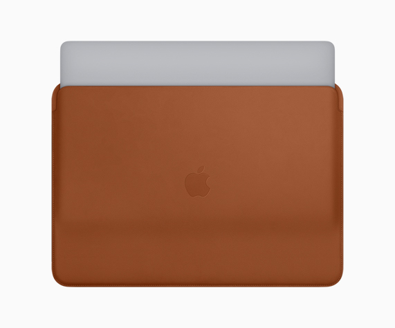 Saddle Brown leather sleeve for MacBook Pro.