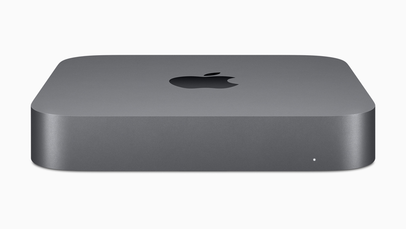 A profile of the new Mac mini in space gray.