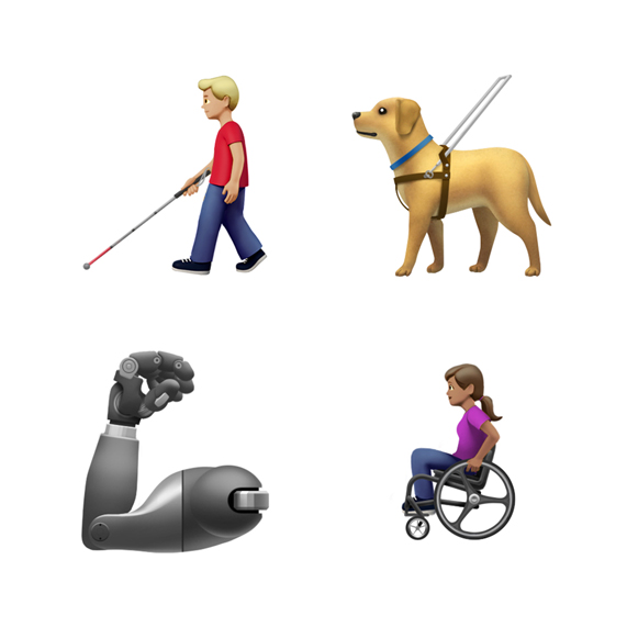 Emoji of man with cane, guide dog, prosthetic arm and woman in wheelchair.