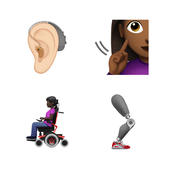 Hearing aid, prosthetic leg and other disability-themed emoji.