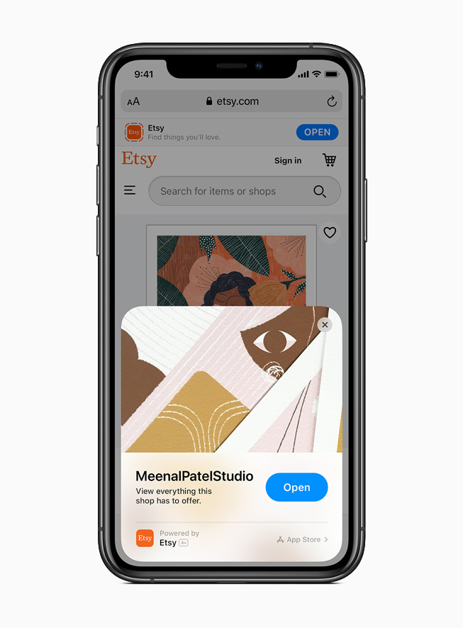 An App Clip from the Etsy app displayed on iPhone 11 Pro.
